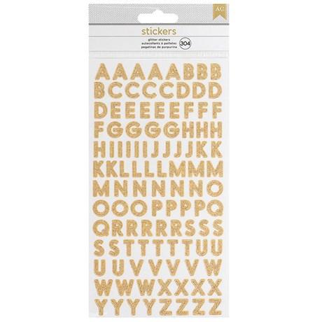 Adesivos Alfabeto Glitter Dourado