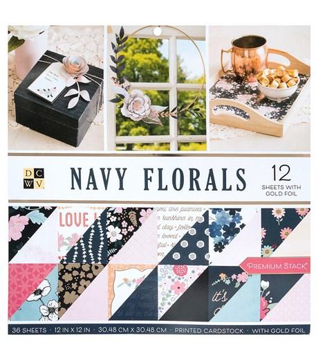 Bloco de Papéis Srap 30X30 Navy Florals