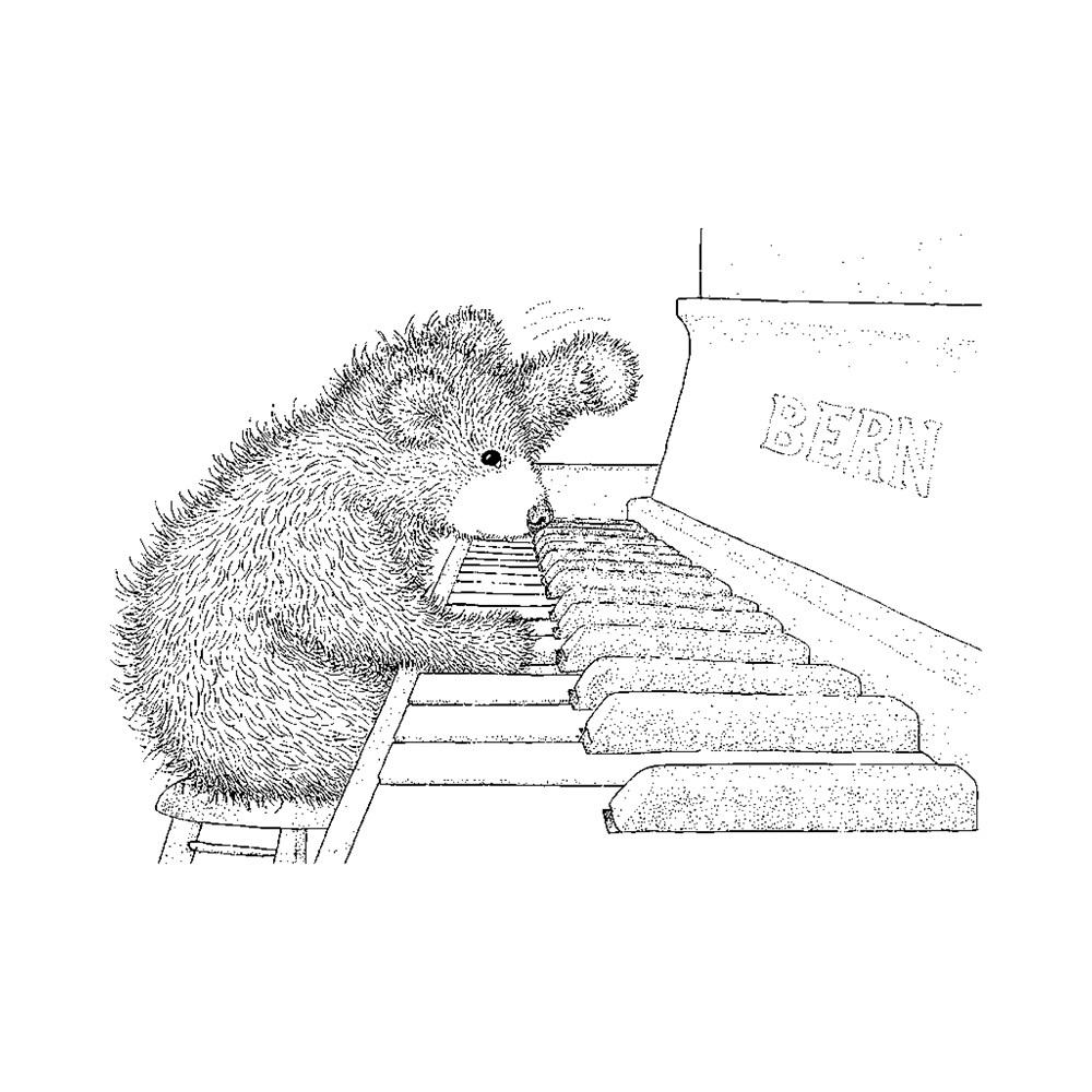 Carimbo Urso No Piano Stampendous