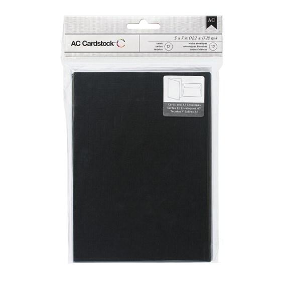 Cartão Envelope 12x17cm 12 un. Preto American Crafts