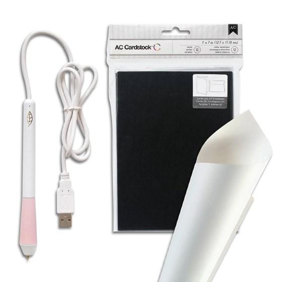 Combo Cartinha: Caneta Foil Quill + Papel Colorplus + Cartão Evelope