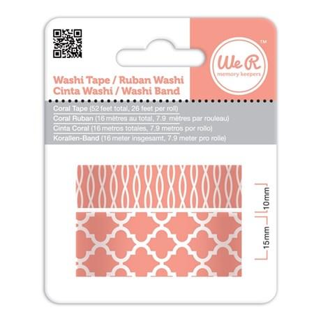 Fita Adesiva Decorativa Washi Tape WER Coral 2 Rolos 15,8 M Wrwt 42415