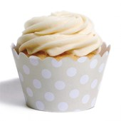 Forma de Cup Cake Poá Bege 12 Unidades