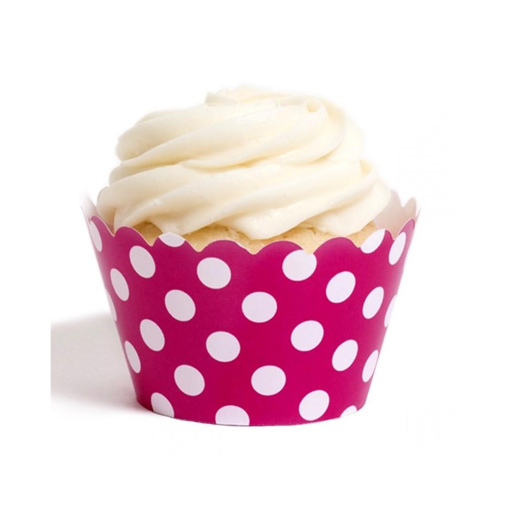 Forma de Cup Cake Poá Pink 12 Unidades