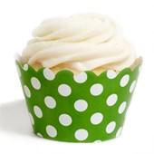 Forma de Cup Cake Poá Verde 12 Unidades