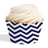 Forma de Cup Cake Zig Zag Azul Marinho 12 Unidades