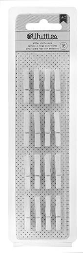 Kit Mini Pregador Clothespins Branco Glitter c/16