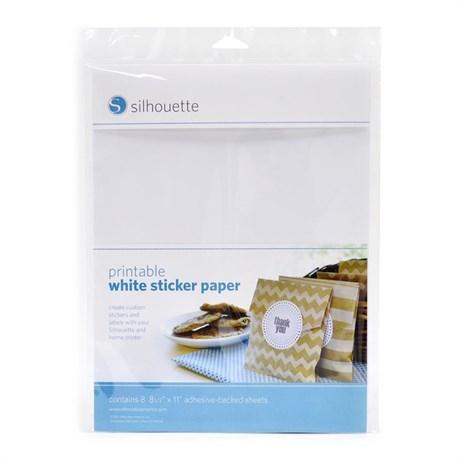 Papel Adesivo Branco para Impressão Silhouette com 8 Folhas