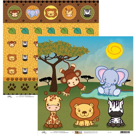 Papel de Scrap Animais Safari 30X30
