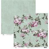 Papel de Scrap Flores Grande com Verde Claro Poa 30X30