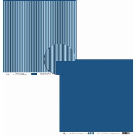 Papel de Scrap Liso E Listrado Azul Mar