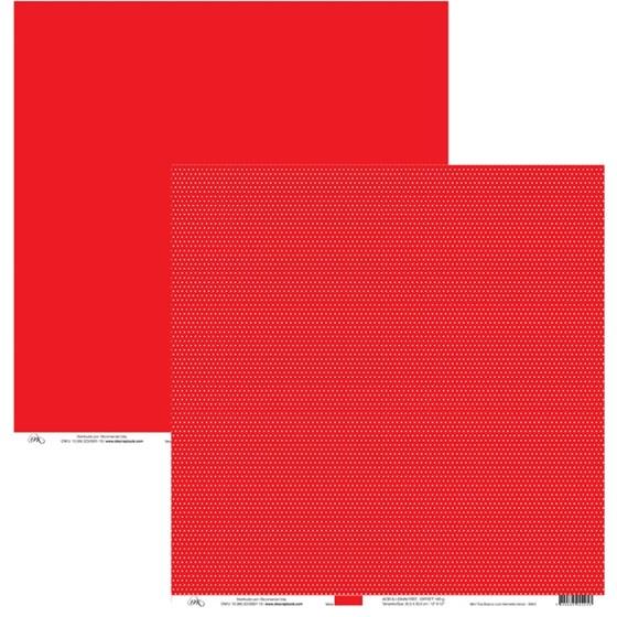 Papel de Scrap Mini Poa Branco com Vermelho Amor 30x30