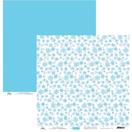 Papel de Scrap Neve Azul E Branco 30X30