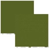 Papel de Scrap Ok Scrapbook Bolinha Branca E Liso Verde Escuro 30X30cm