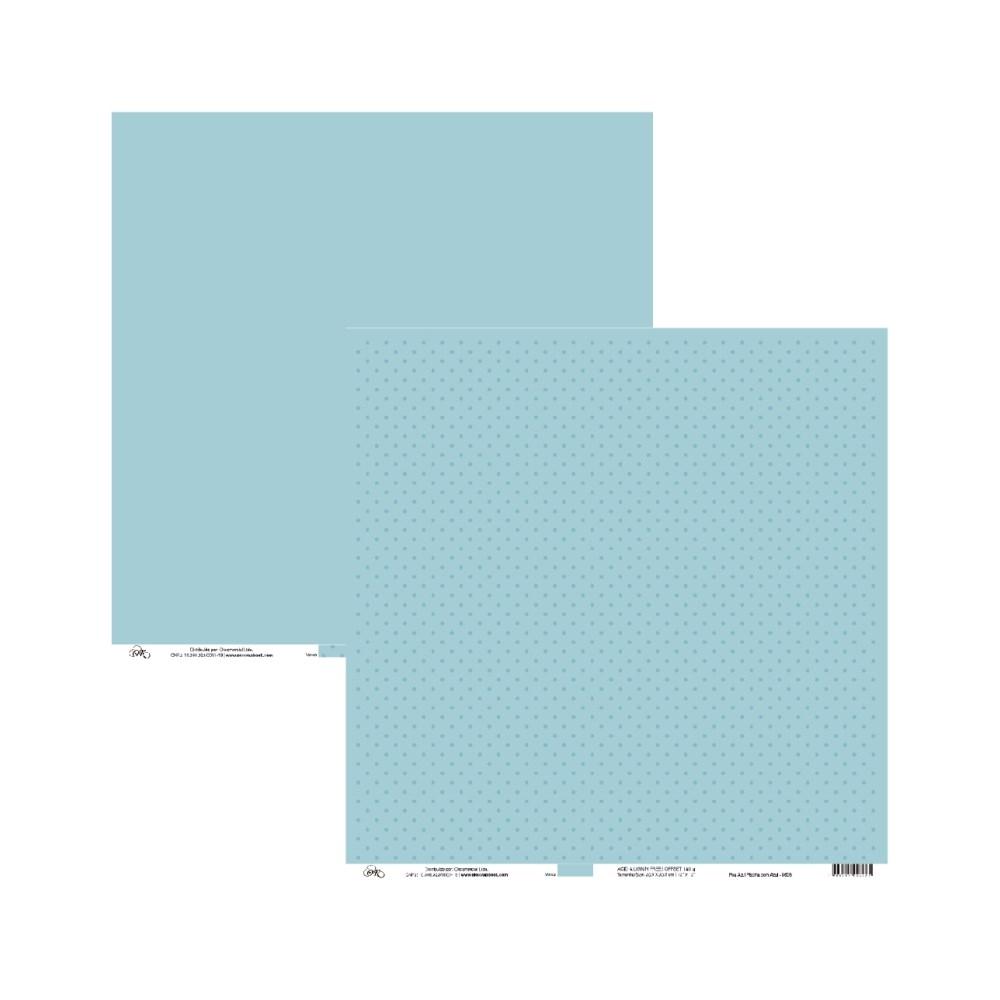 Papel de Scrap Ok Scrapbook Bolinha E Liso Azul Claro 30X30cm