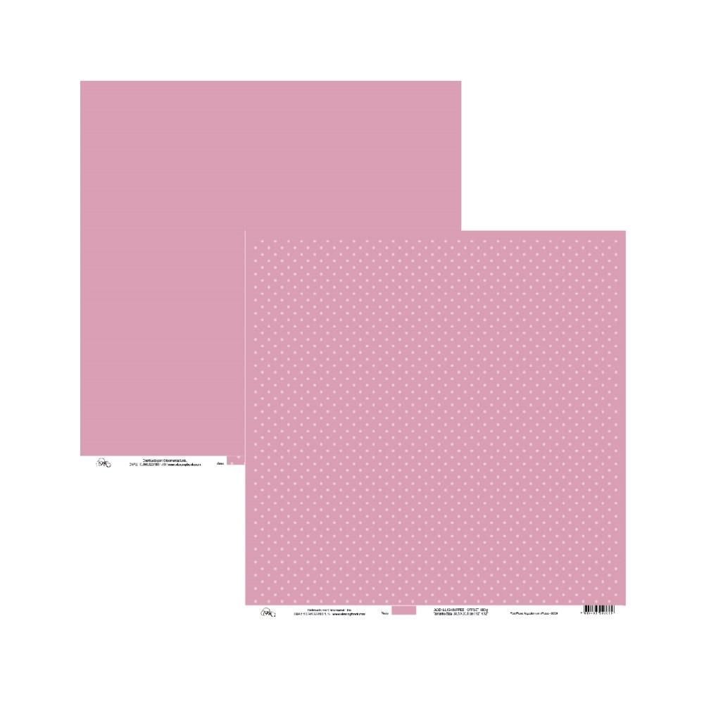 Papel de Scrap Ok Scrapbook Bolinha E Liso Rosa 30X30cm