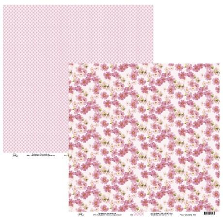 Papel de Scrap Ok Scrapbook Grade E Flor Rosa 30X30cm