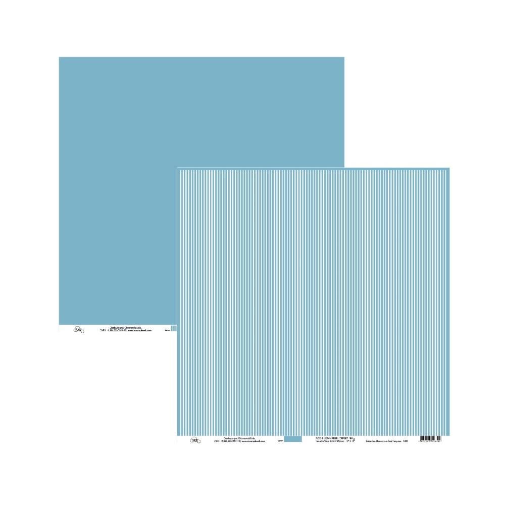 Papel de Scrap Ok Scrapbook Liso Azul Céu E Listrado 30X30cm