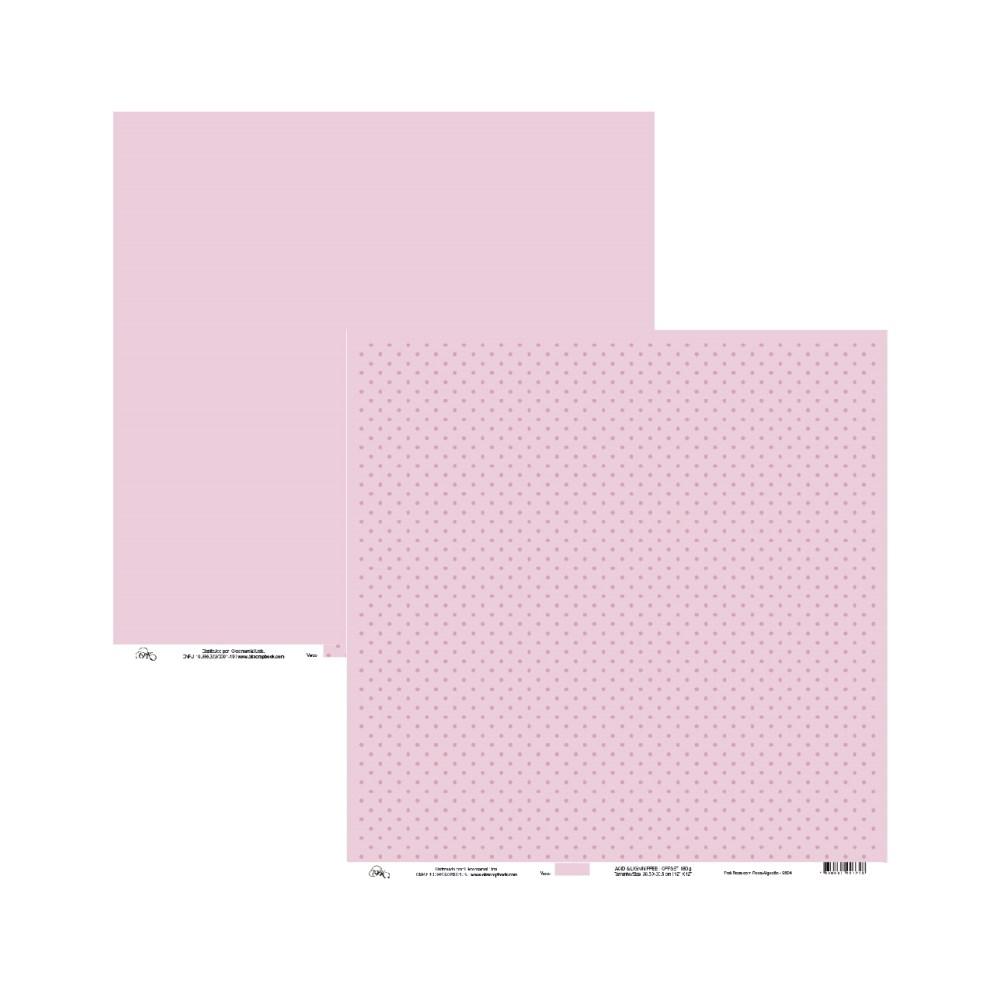 Papel de Scrap Ok Scrapbook Liso E Bolinha Rosa 30X30cm