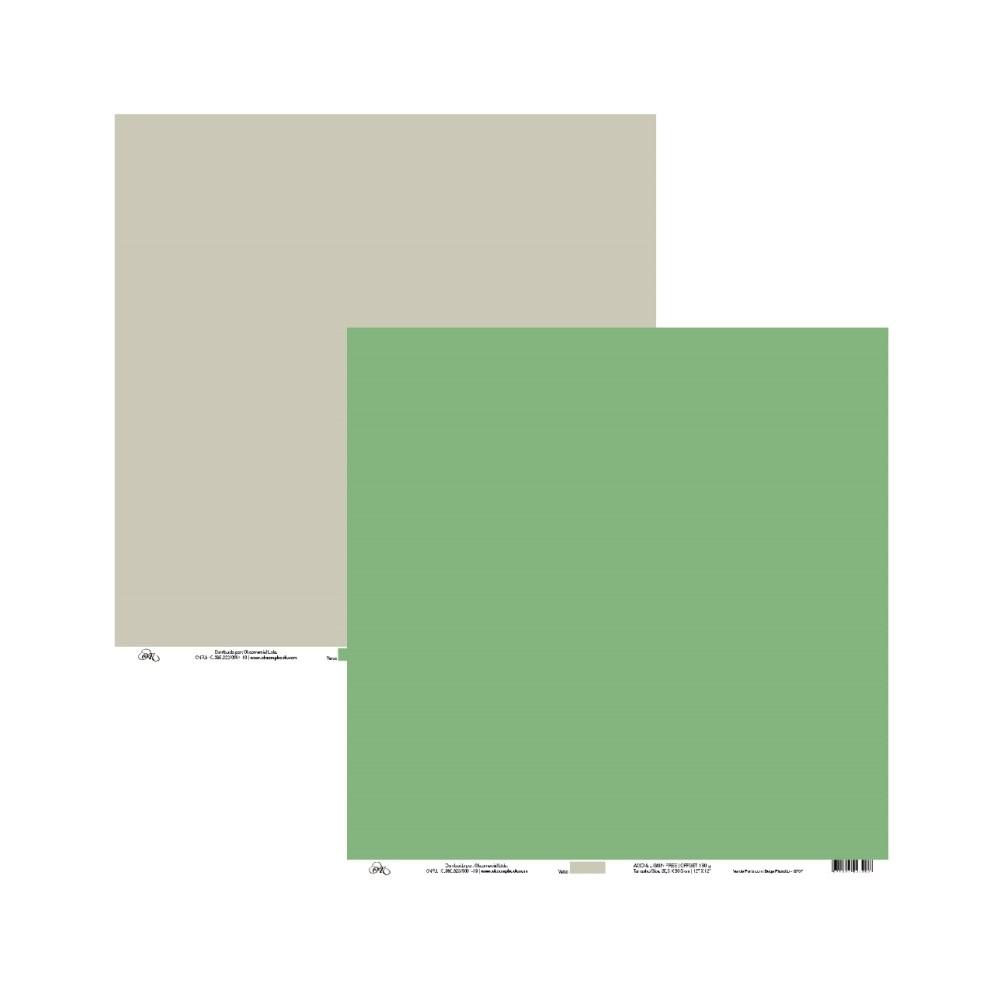 Papel de Scrap Ok Scrapbook Liso Verde E Cinza 30X30cm