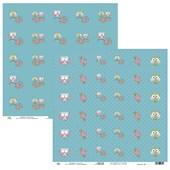Papel de Scrap Ok Scrapbook Tag Coruja E Flor Azul 30X30cm