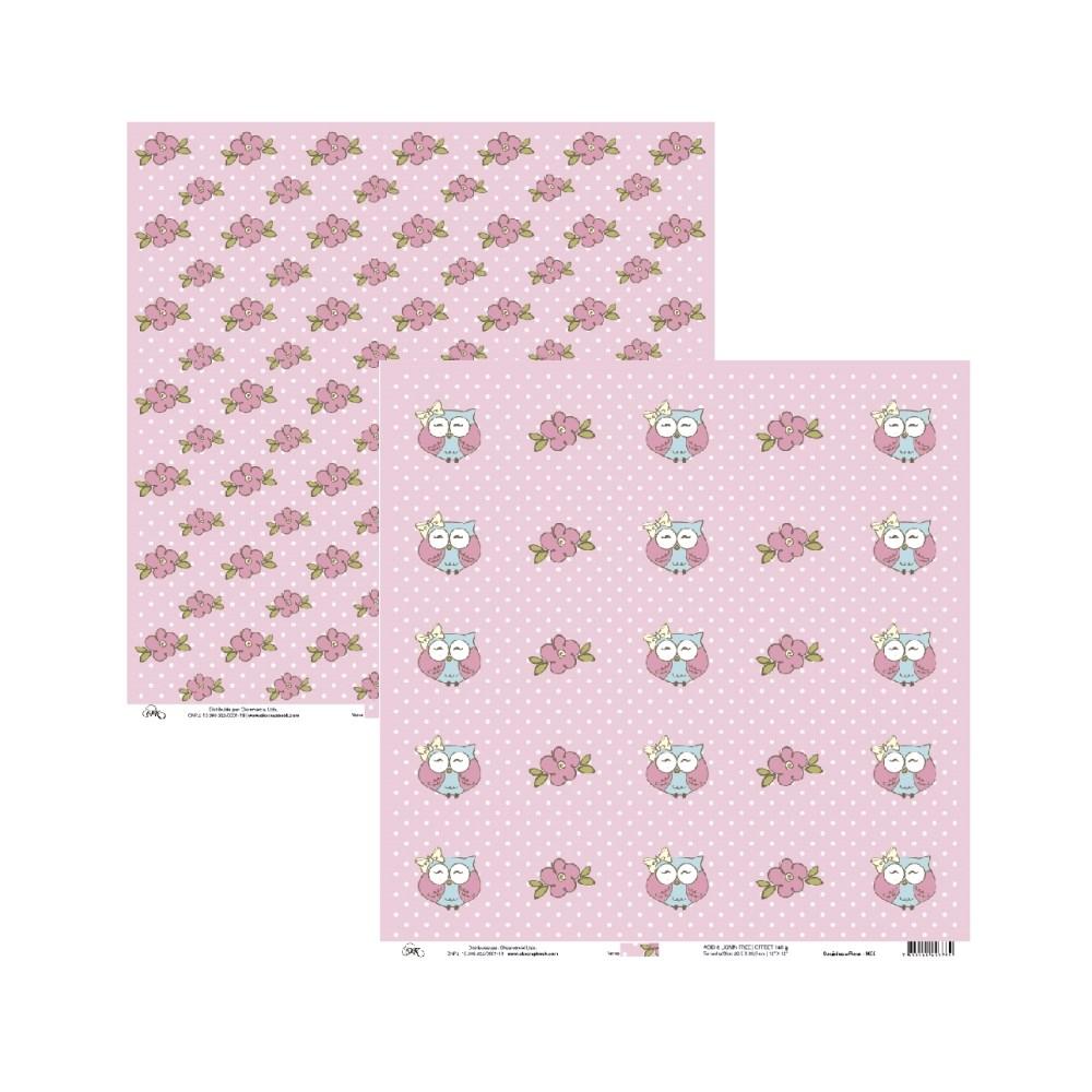 Papel de Scrap Ok Scrapbook Tag Coruja E Fundo Rosa com Flor 30X30cm
