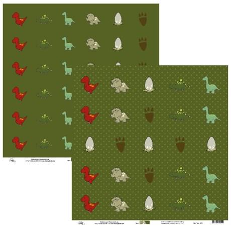 Papel de Scrap Ok Scrapbook Tag Dinossauros com Fundo Verde 30X30cm