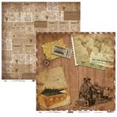 Papel de Scrap Ok Scrapbook Vintage Viagem E Trem 30X30cm