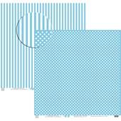 Papel de Scrap Poa Grande com Listra Azul Claro