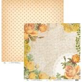 Papel de Scrap Rosas e Renda Amarelo Verão Vintage e Poa Medio 30x30