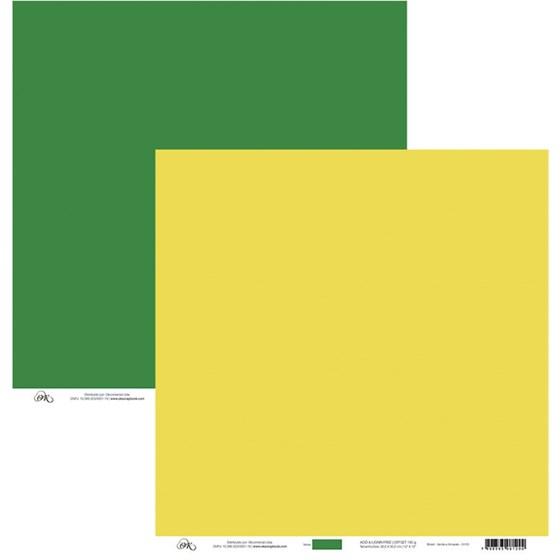 Papel de Scrap Verde E Amarelo 30X30