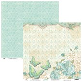 Papel Florido Vintage Azul Borboletas 30X30 Ok Scrapbook