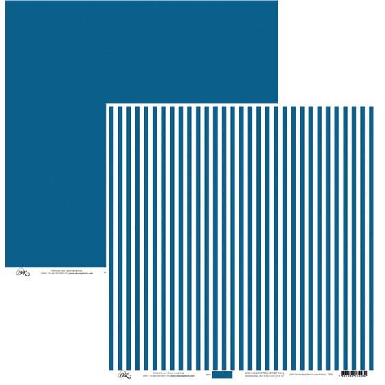 Papel Listra Azul Náutico Com Branco 30x30cm