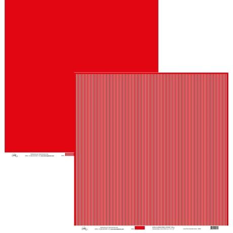 Papel Listrado Fino Branco e Liso Vermelho 30x30