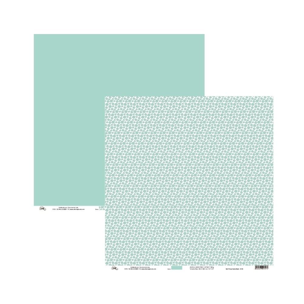 Papel Mini Flores Verde Bebe 30X30 Ok Scrapbook