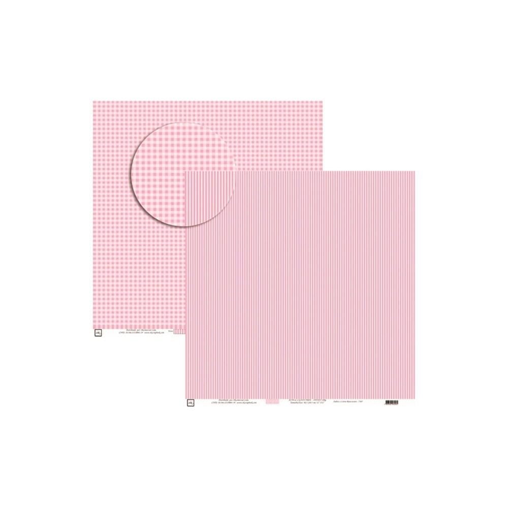 Papel para Scrap Xadrez E Listra Pink