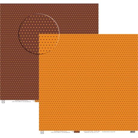 Papel Poa Médio com Frente E Verso Colorido Marrom com Laranja
