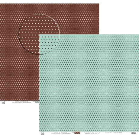 Papel Poa Médio com Frente E Verso Colorido Marrom com Turquesa