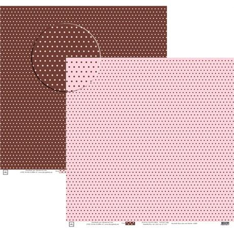 Papel Poa Médio com Frente E Verso Colorido Rosa Claro com Marrom