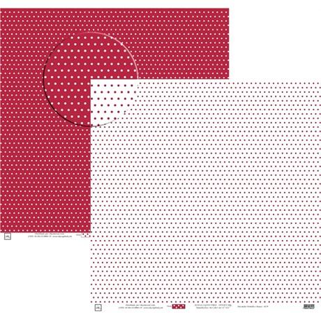 Papel Poa Médio com Frente E Verso Colorido Vermelho com Branco