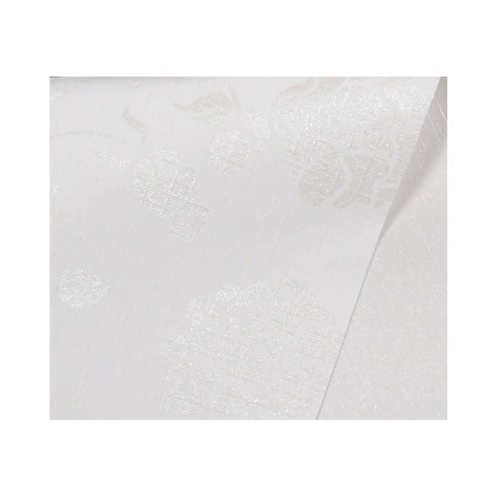 Papel Scrap Metalizado Estampa Branco c/ Flor 180gr 30