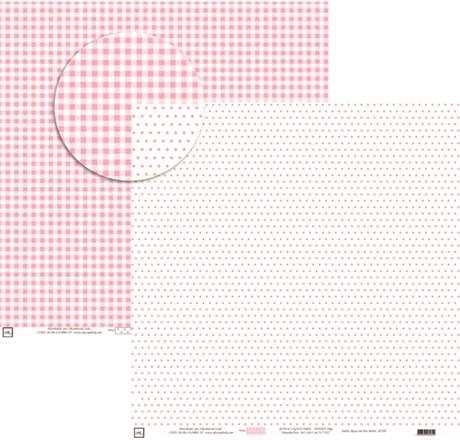 Papel Xadrez E Poa Médio com Rosa 30X30