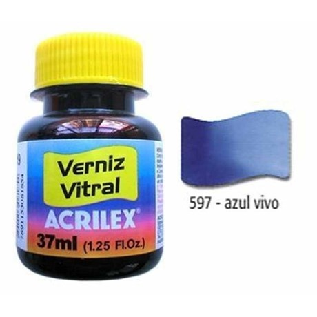 Tinta Verniz Vitral 37ml Azul Vivo